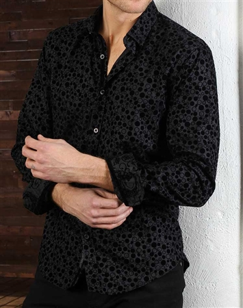 Black Jacquard Check Dress Shirt