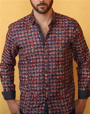 Multicolor Houndstooth Print Dress Shirt