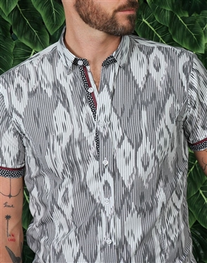 Grey White Short Sleeve Woven