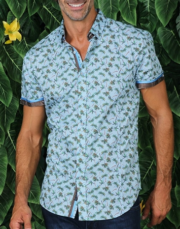 Sky Blue and Green Palm Print Dress Shirt