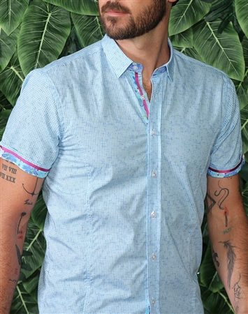 Light Blue Short Sleeve Woven