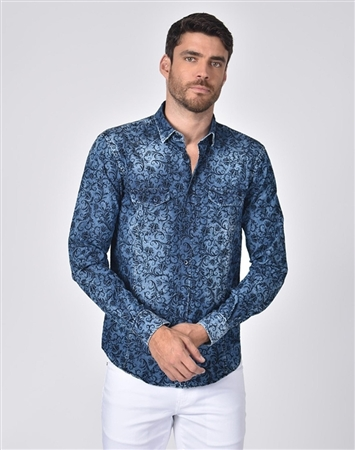 Luxury Sport Shirt - Denim Vine Print Dress Shirt