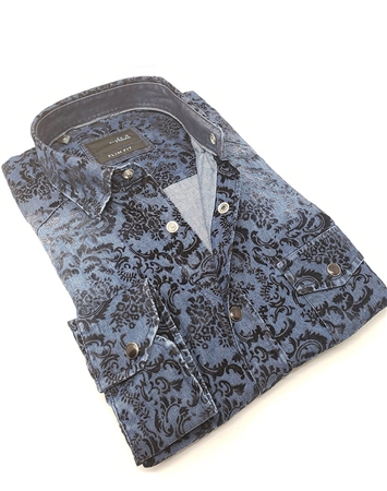 Modern Navy Denim Dress Shirt