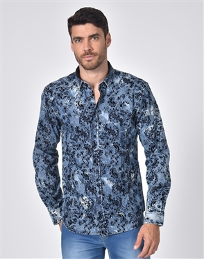Austere Luxury Distressed Denim With Paisley Print Shirt