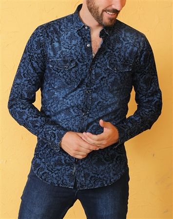 Navy Denim Shirt with Black Flocking Pattern