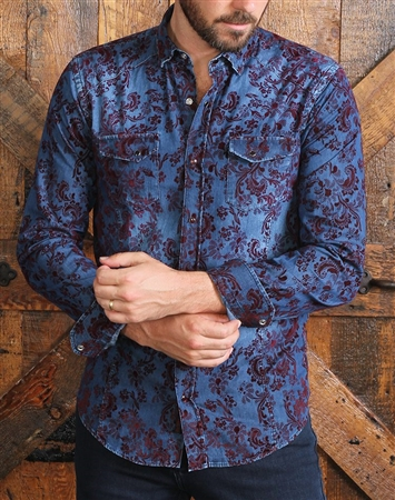 Navy Denim Shirt with Burgundy Flocking Pattern