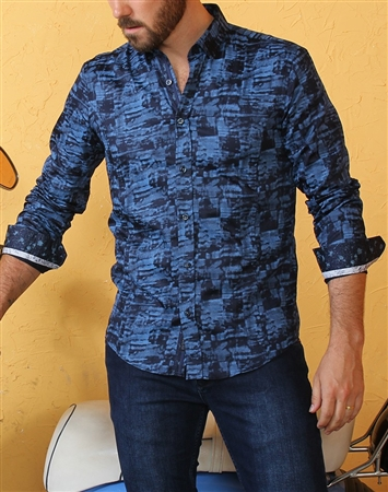 Designer Navy Dress Shirt