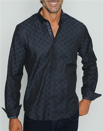 Designer Navy Button Down