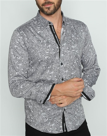 Designer Gray Paisley Button down
