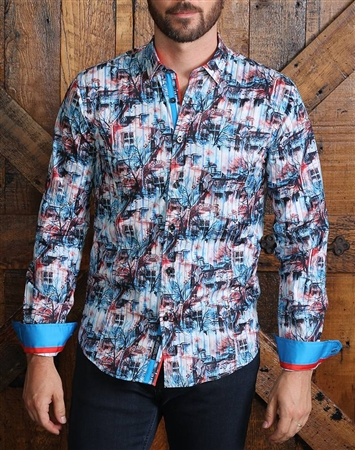 Turquoise Scenery Print Dress Shirt