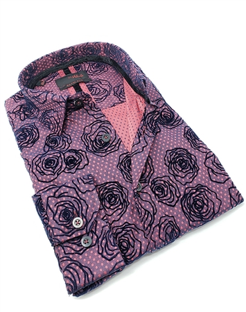 Chic Burgundy Floral Dress Shirt
