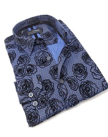 Handsome Navy Floral Dress Shirt