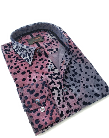Fashionable Burgundy and Navy Shirt with Navy Dot