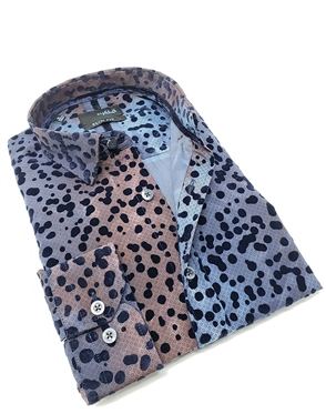 Fashionable Gray Navy Shirt with Navy Dot