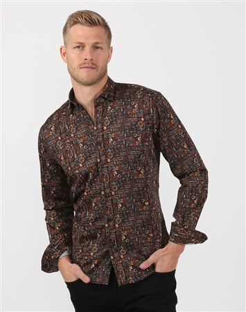Black Mosaic Men's Designer Dress Shirt