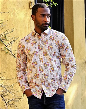 Stripped Floral Men's Luxury Dress Shirt
