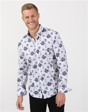 White And Grey Rose Print Dress Shirt