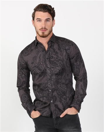 Midnight Black Paisley Dress Shirt