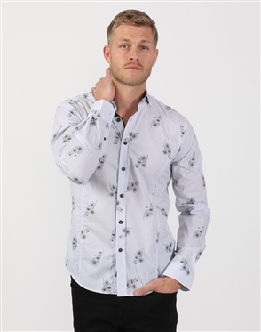 Smoke Grey Men's Floral Designer Dress Shirt