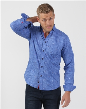 Royal Blue Men's Designer Dress Shirt