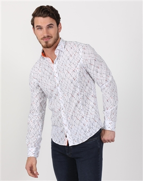White Crack Lined Men's Designer Dress Shirt