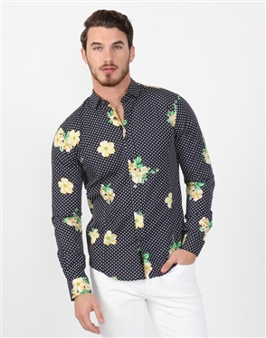 Spring Yellow Men's Designer Shirt