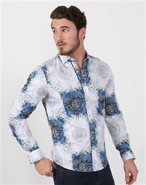 Faded Blue Men's Floral Dress Shirt
