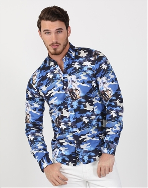 Blue Camo Men's Luxury Dress Shirt