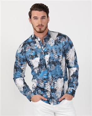 Multi Color Feather Print Shirt