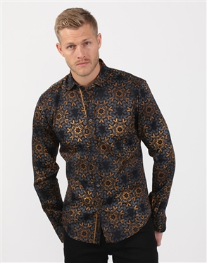 Hot New Men's Black And Gold Cotton Shirt