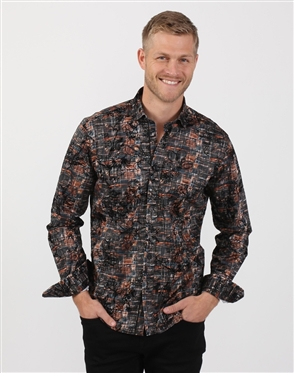 Slate-Gray And Bronze Floral Print Dress Shirt