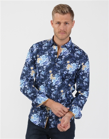 Floral Navy Men's Designer Shirt