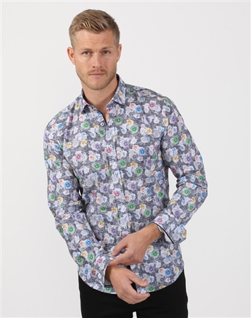 Grey Garden Men's Floral Dress Shirt