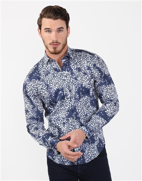 Austere Luxury Navy Cracked Flower Print Shirt (SS 19)