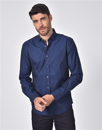 Luxury Sport Shirt - Retro Navy Jacquard Button Down