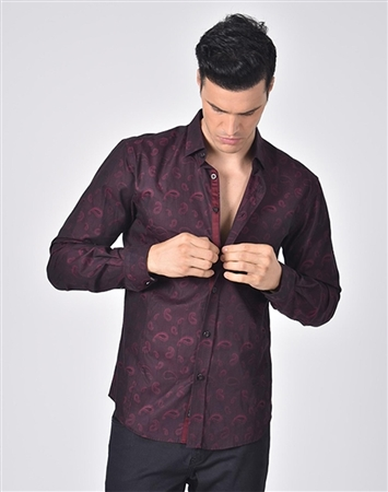 Luxury Sport Shirt - Elegant Burgundy Paisley Dress Shirt