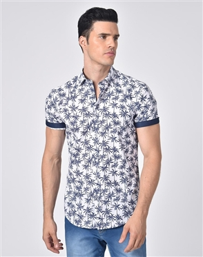 Luxury Short Sleeve Shirt - Navy Palm Print Dress Shirt