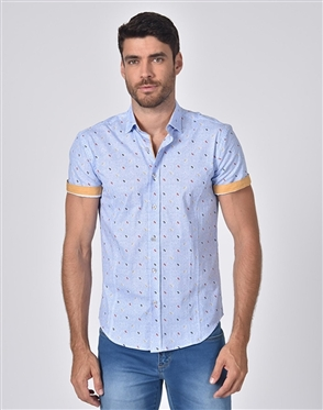 Designer Blue Short Sleeve Dress Shirt