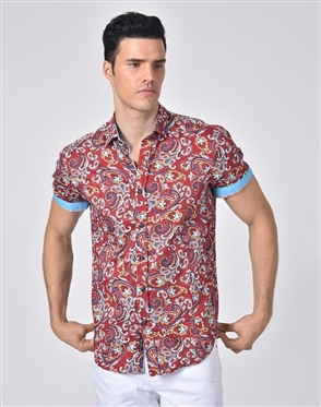 Luxury Sport Shirt - Fashionable Red Paisley Dress Shirt