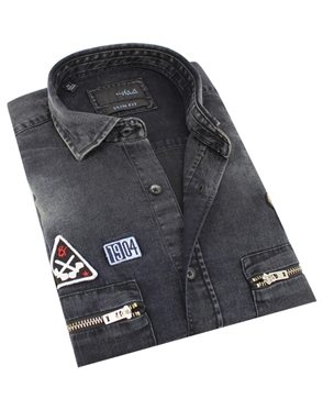 Austere Luxury Black 1904 Grizzly Bear Denim Shirt