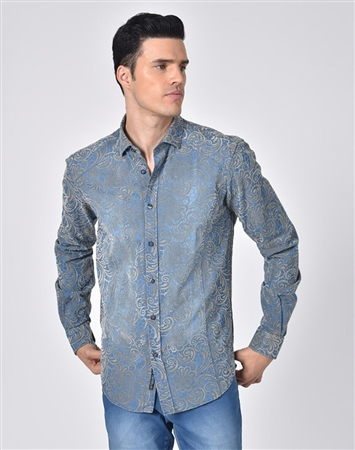Austere Luxury Denim Shirt With Gold Venice Lace Print Flocking