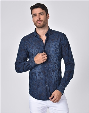 Austere Luxury Denim Tapestry Design Stretch Jacquard Shirt
