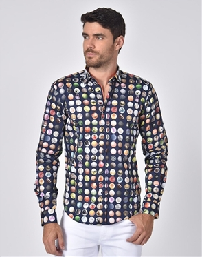 Austere Luxury Polka Dot Collage Circle Print Shirt