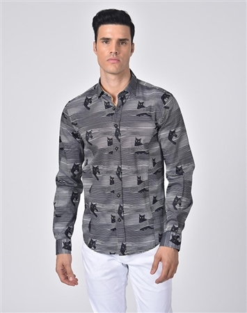 Austere Luxury Spying Cats Print Shirt
