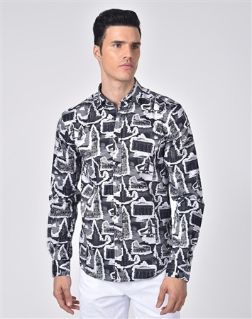 Austere Luxury Historical Monuments Print Shirt