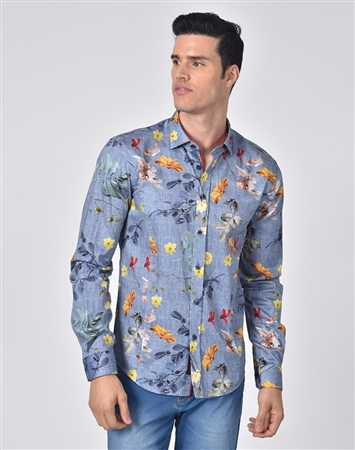 Luxury Sport Shirt - Denim Floral Dress Shirt
