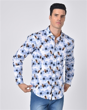 Luxury Sport Shirt - White Bumblebee Floral Print Shirt