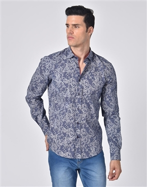 Austere Luxury Damask Print Shirt In Navy