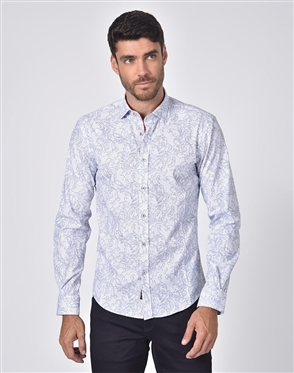 Austere Luxury Damask Print Shirt In White