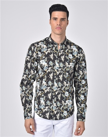 Luxury Sport Shirt - Elegant Japanese Crane Print Shirt